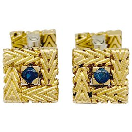 Autre Marque-Van Cleef & Arpels cufflinks two golds and sapphires.-Other