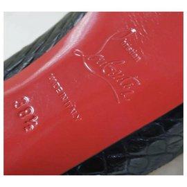 Christian Louboutin-CHRISTIAN LOUBOUTIN Black Crocodile Pumps Heels Shoes Sz.38,5-Black