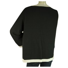 Chanel-Chanel Black and White Cashmere Knit Top Sweater Size 46 with button closure-Black,White