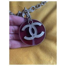 Chanel-Chanel lined-sided long necklace-Red