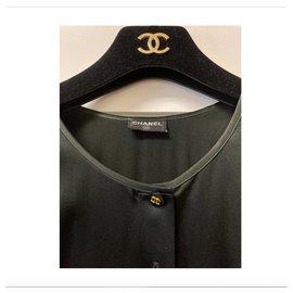 Chanel-Lovely stretch silk 90s sleeveless Chanel top-Black