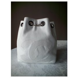 Chanel-CHANEL BUCKET BAG/ BACKPACK-White