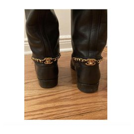 Chanel-Vintage Chanel 90s riding boots with Chanel turnock-Black
