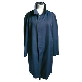 Burberry Prorsum-BURBERRY Mixed straight marine raincoat B.E T52-Navy blue