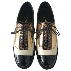 Chanel-Derby Brogue Lace Up Shoes-Brown,Black,Golden,Cream