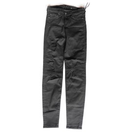 7 For All Mankind-Slim Illusion Luxe The Skinny Jeans Rinsed Black Distressed Wash-Black