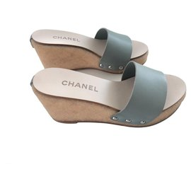 Chanel-Leather Wedges Sandals-Light green