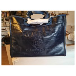 Chanel-Deauville-Navy blue,Silver hardware