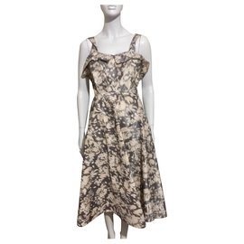 Acne-Lillian Dress with Ikat print-Brown,White,Beige