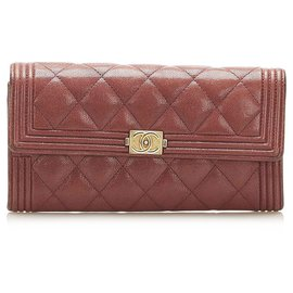 Chanel-Chanel Red Le Boy Lambskin Leather Long Wallet-Red,Dark red