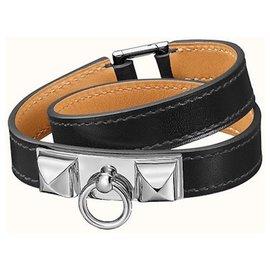 Hermès-HERMES RIVALE lined wrap black leather bracelet Mint condition XS-Black