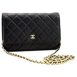 Chanel-CHANEL Black Classic Wallet On Chain WOC Shoulder Bag Crossbody-Black