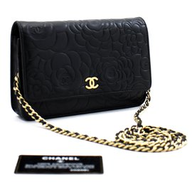 Chanel-CHANEL Black Camellia Embossed Wallet On Chain WOC Shoulder Bag-Black