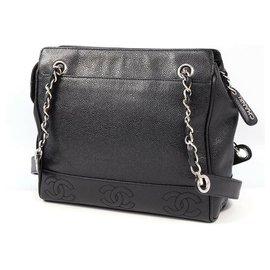 Chanel-CHANEL chain tote triple coco Womens tote bag black x silver hardware-Black,Silver hardware