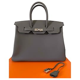 Hermès-Birkin 35-Cinza