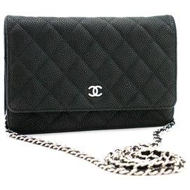 Chanel-CHANEL Caviar Wallet On Chain WOC Dark Green Shoulder Bag-Dark green