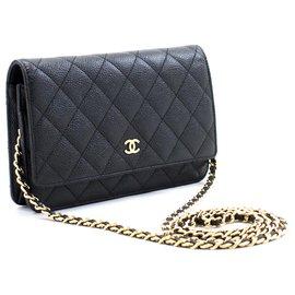 Chanel-CHANEL Caviar Wallet On Chain WOC Black Shoulder Bag Crossbody-Black