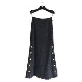 Chanel-5K$ New Maxi Tweed Skirt-Black