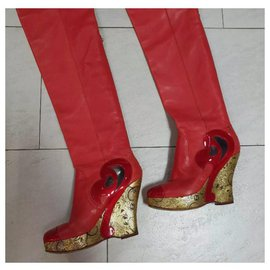 Chanel-Chanel  Paris Moscow Red Leather Over Knee Wadge Boots Sz. 37,5-Red