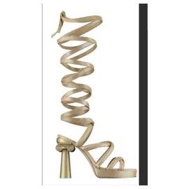 Chanel-CHANEL  Cruise Resort 2018 Gladiator Sandals Sz 37-Golden