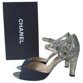 Chanel-Chanel Python Leather Heels Sandals Size 38,5-Multiple colors