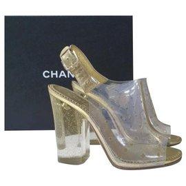 Chanel-Chanel Gold Transparent Sandals Size 38,5-Golden