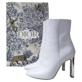 Dior-Bottines à talons en cuir perlé Dior Sz 38-Blanc
