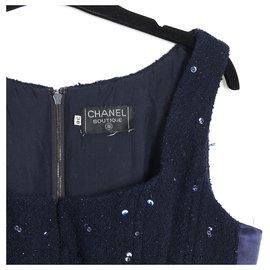 Chanel-FW1993 NAVY TWEED SEQUINS TOP FR38-Navy blue