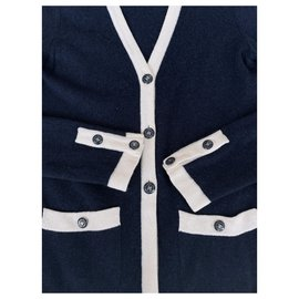Chanel-CC buttons cashmere cardigan-Navy blue
