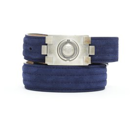 Chanel-BOY NAVY SUEDE SILVER T80-Navy blue,Silver hardware