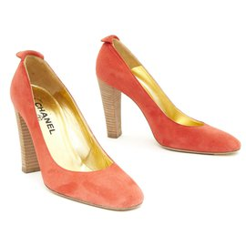 Chanel-HAUTE COUTURE TANGERINE SUEDE FR39.5-Coral