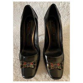 Louis Vuitton-Black patent pumps-Black