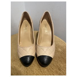 Chanel-Heels-Black,Beige