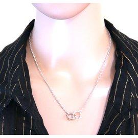 Cartier-cartier 18K 750 collier à breloques mini anneau doublé-Argenté