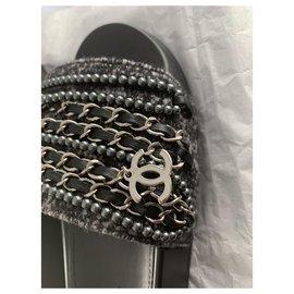 Chanel-Chanel sandals mules-Dark grey