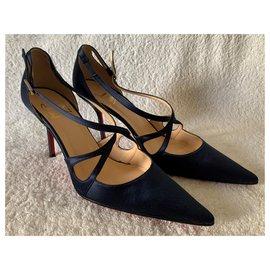 Christian Louboutin-BLu satin classy sandals-Dark blue
