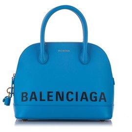 Balenciaga-Balenciaga Blue Ville Leather Satchel-White,Blue