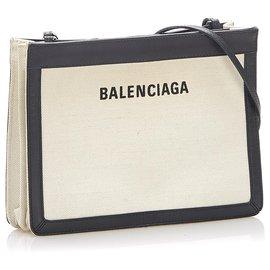 Balenciaga-Balenciaga Black Navy Pochette S Leather Crossbody Bag-Black,White