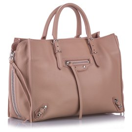 Balenciaga-Balenciaga Pink Papier A6 Leather Zip-Around Satchel-Pink,Other