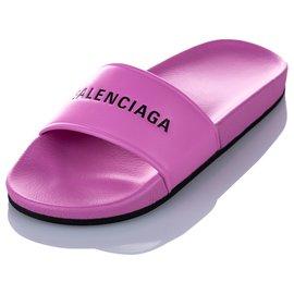 Balenciaga-Balenciaga Pink Piscine Flat Sandal-Black,Pink