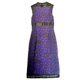 Christopher Kane-Quilted Leather Trim Purple Leopard Dress-Purple