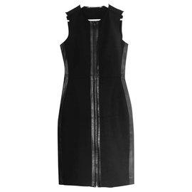 Reed Krakoff-Leather Trim Black Dress-Black
