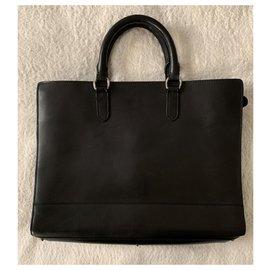Ralph Lauren-Black leather business bag-Black
