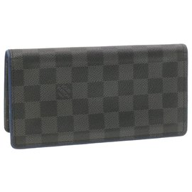 Louis Vuitton-LOUIS VUITTON Damier Graphite Portefeuille Brazza Wallet Blue N64430 auth 18804-Other