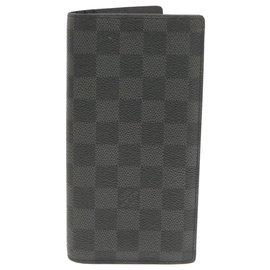 Louis Vuitton-LOUIS VUITTON Damier Graphite Portefeuille Brazza Long Wallet N62665 auth 18805-Other