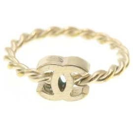 Chanel-CHANEL Ring Gold Tone 2Set CC Auth 19970-Golden