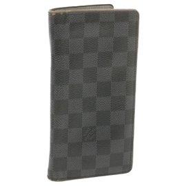 Louis Vuitton-LOUIS VUITTON Damier Graphite Portefeuille Brazza Long Wallet N62665 Auth ar3353-Other
