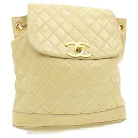 Chanel-CHANEL Lamb Skin Matelasse Backpack Beige CC Auth ar2974-Beige