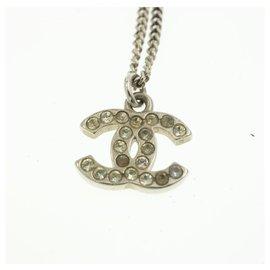 Chanel-CHANEL Pendant Necklace Silver Tone CC Auth br163-Silvery