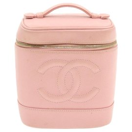 Chanel-CHANEL Caviar Skin Leather Vanity Cosmetic Pouch Bag Pink Auth gt276-Pink